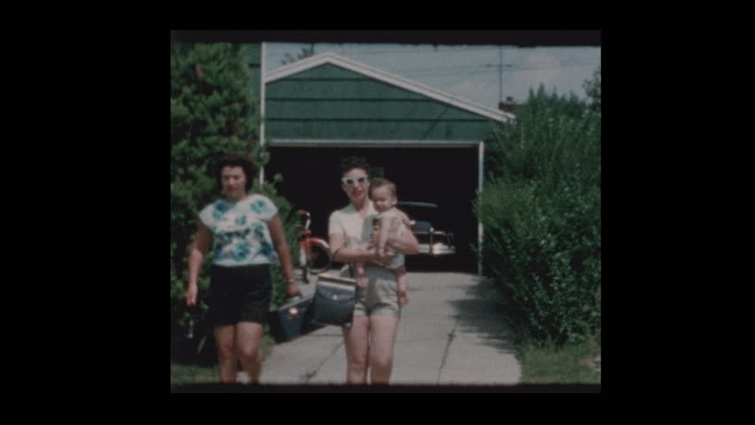 1960 family with antique car and luggage | Shutterstock HD Video #1023650767
