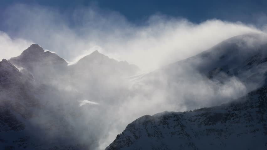 Snow storm on the top of the mountain. North Caucasus. | Shutterstock HD Video #1023699013