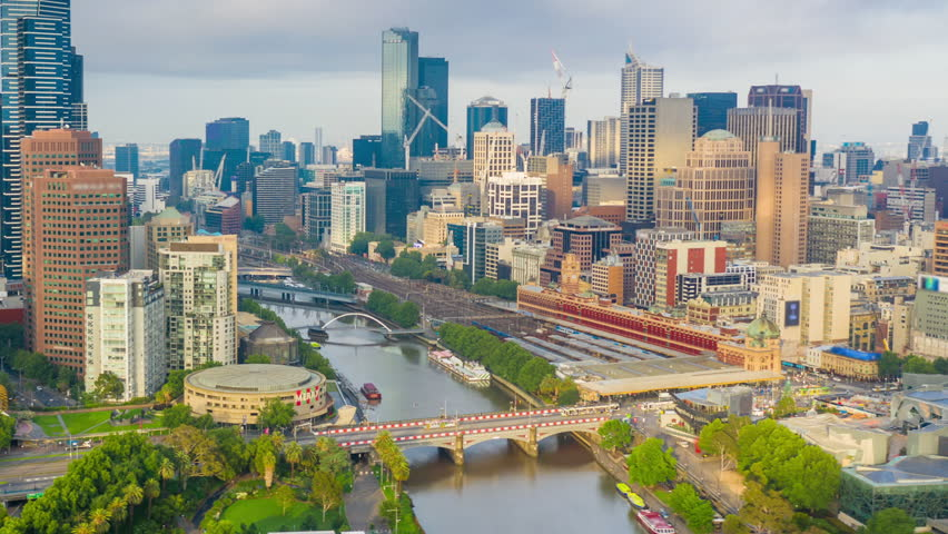 Aerial hyperlapse video of Melbourne city in Australia