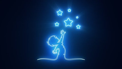 Blue Reaching Stars Logo with Reveal Effect Graphic Element