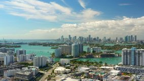 Aerials of Miami Beach condominiums summer vibes travel destination 4k