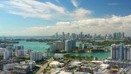 Aerials of Miami Beach condominiums summer vibes travel destination 4k