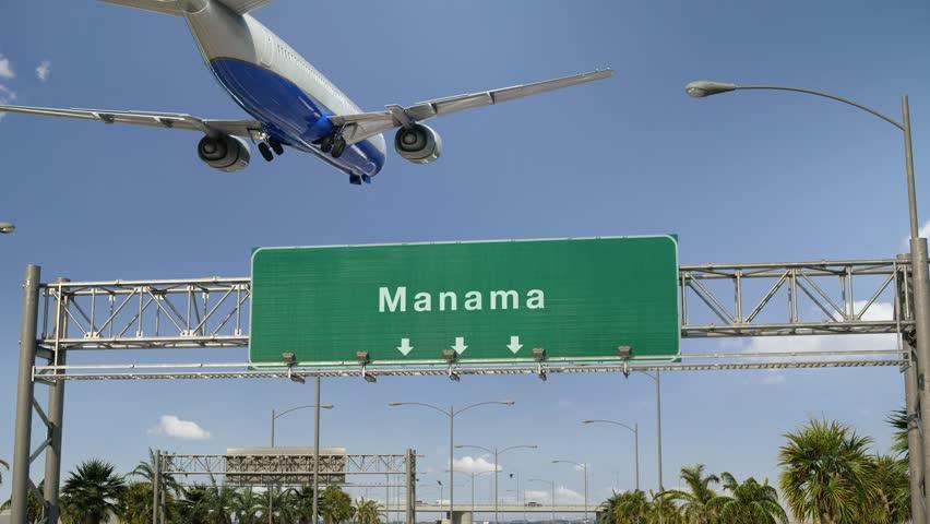 Airplane Landing Manama   Shutterstock HD Video #1023729904