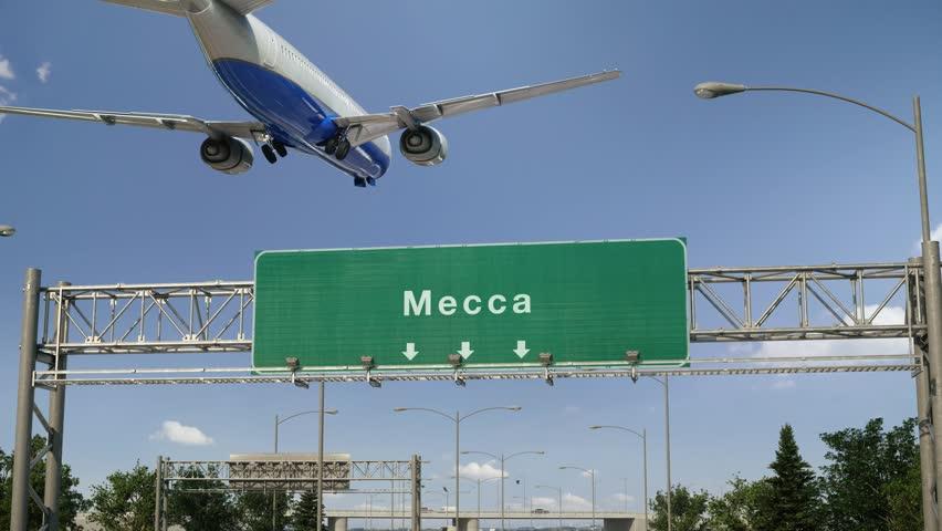 Airplane Landing Mecca | Shutterstock HD Video #1023730003