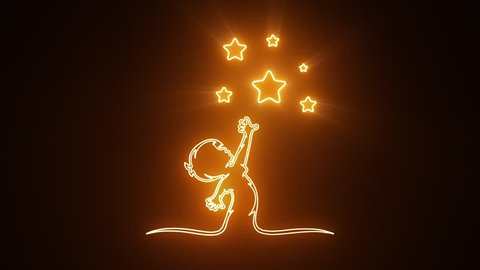 Orange Reaching Stars Logo with Reveal Effect Graphic Element