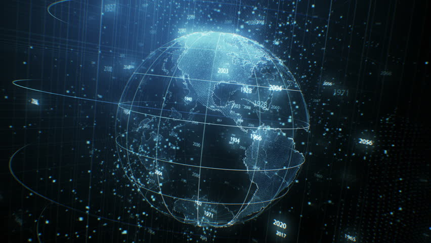 Beautiful Earth Hologram Rotating Seamless with Counting Years Flying in Cyberspace Structure Around Globe. Looped 3d Animation with Blur. Futuristic Business and Technology Concept 4k UHD 3840x2160.