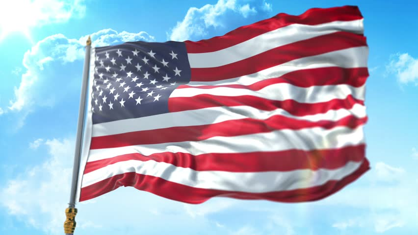 American USA flag with pole, stars and stripes, united states of America flag on cloud sky with sun, Rectangle flag style. 30sec video.