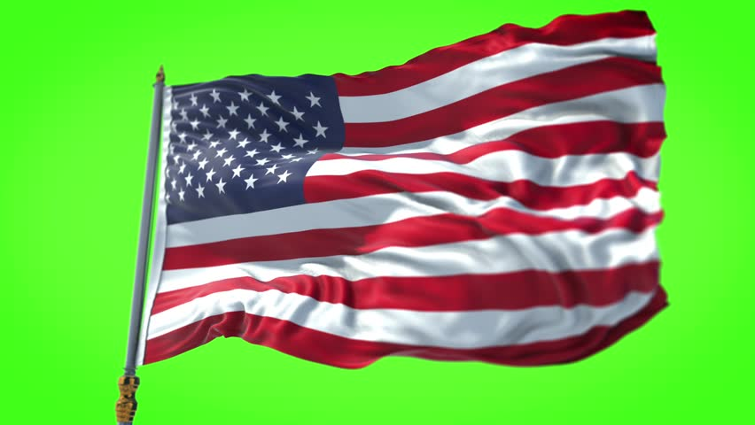 American USA flag with pole, stars and stripes, united states of America on chroma key green screen, Rectangle flag style. 30sec video.