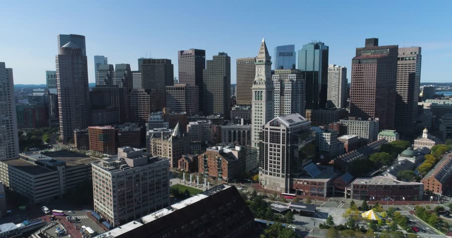Boston City Skyline on Sunny Day, Aerial Drone