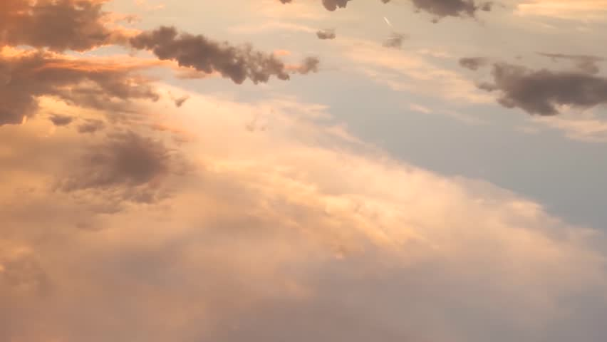 Evening clear sky, time lapse clouds aerial view, nice colourful day, very nice moving cloudscape panoramic, sunset puffy, fluffy soft & relaxing. #1023843409