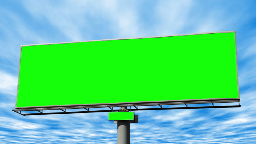Giant road side billboard with chroma key green screen against a blue sky clouds timelapse. | Shutterstock HD Video #1023902506