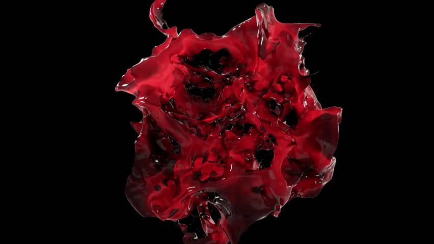 Spectacular splash of wine in slow motion on black isolated background with alpha matte