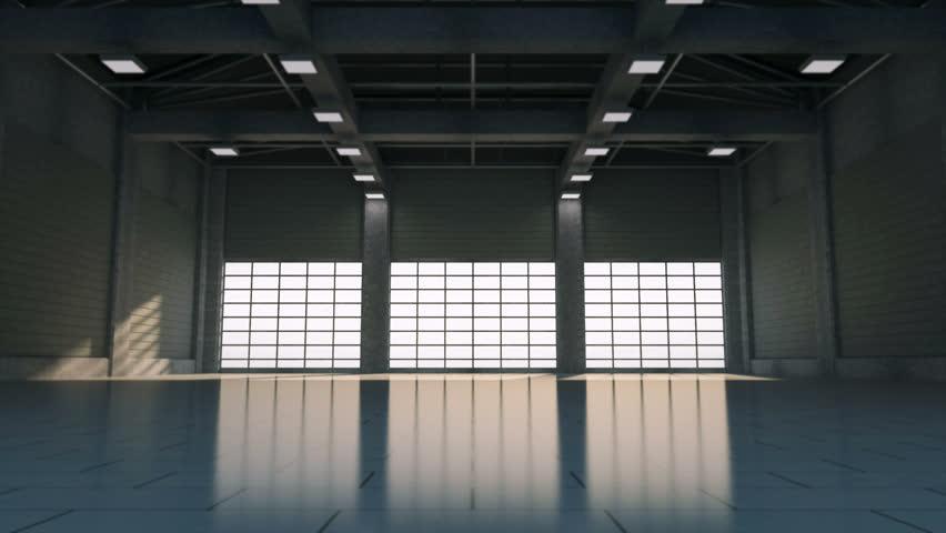 4K Animation of Empty Hangar Interior. 3D Rendering | Shutterstock HD Video #1023946979