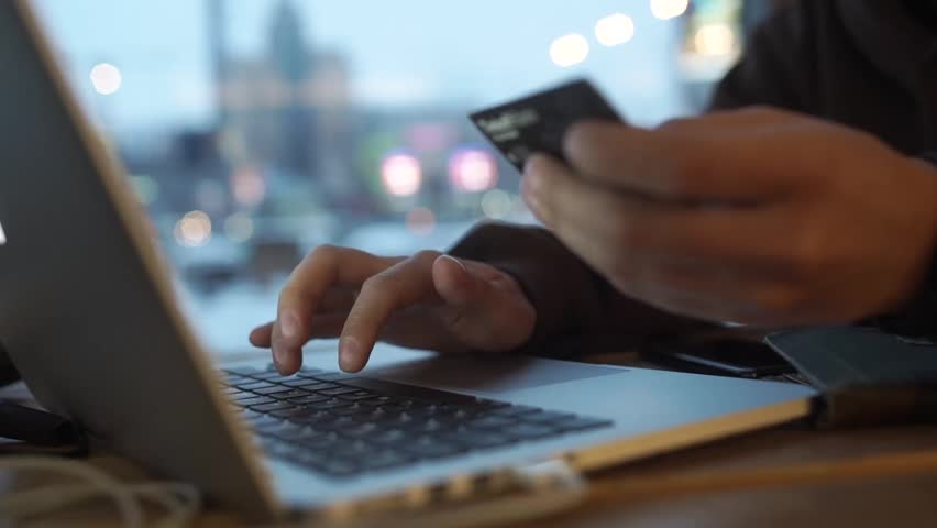 Online internet shopping checkout with credit card payment Royalty-Free Stock Footage #1023947012