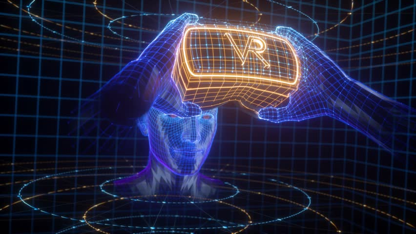 virtual reality simulation, cyberspace tour, deep learning, player playing video game intro, robot head in holding virtual glasses device, gadget, user network connection Royalty-Free Stock Footage #1023962564