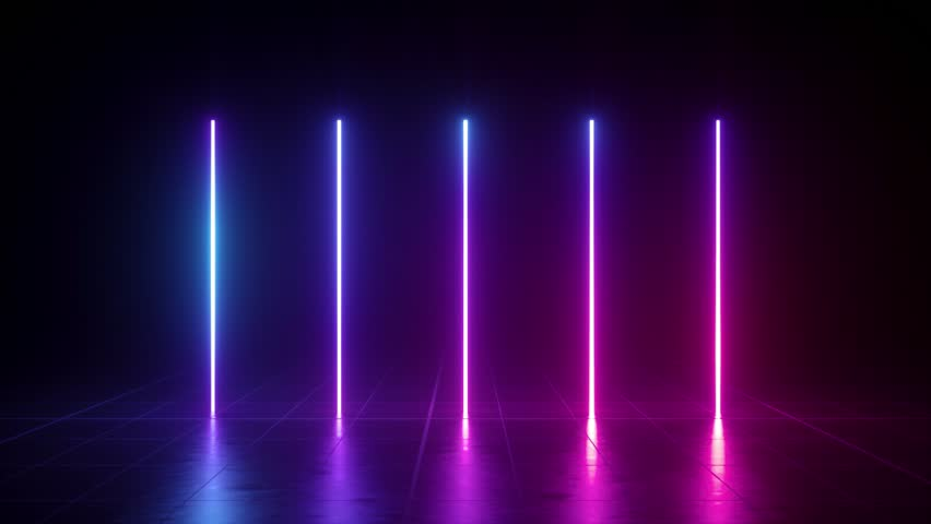 Vertical glowing lines, ultraviolet spectrum, pink blue neon lights, laser show, night club, equalizer, abstract fluorescent background, optical illusion, virtual reality | Shutterstock HD Video #1023962567