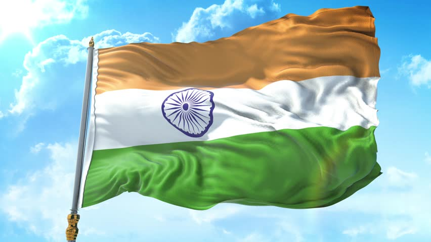 Photorealistic animation of the National Flag of India waving on the wind. Seamless Loop. 4K, Ultra HD resolution. cloud sky with sun, Rectangle flag style. 30sec video.