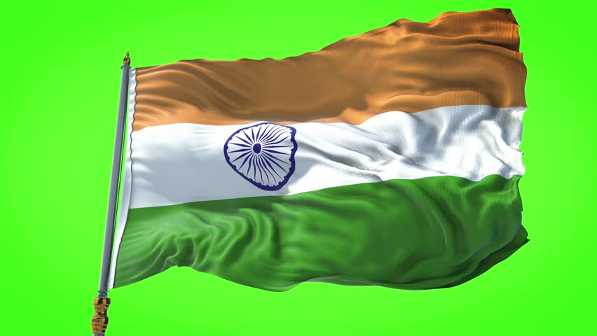 Photorealistic animation of the National Flag of India waving on the wind. Seamless Loop. 4K, Ultra HD resolution. chroma key green screen, Rectangle flag style. 30sec video.