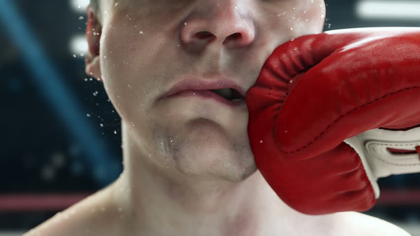 Boxing great punch, boxer punching hook to the jaw, in super slow motion, highly detailed realistic 3d animation