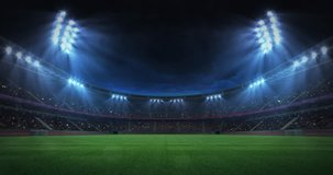 modern grass field stadium evening floodlight illumination zoom out, football stadium sport advertisement background, 4K animation with black end