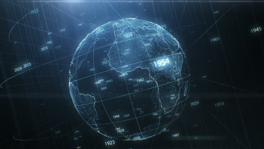Earth Hologram Spinning Seamless with Years Numbers Flying Around. Abstract Beautiful Looped 3d Animation of Cyberspace Planet. Futuristic Business and Technology Concept 4k Ultra HD 3840x2160. #1024013609