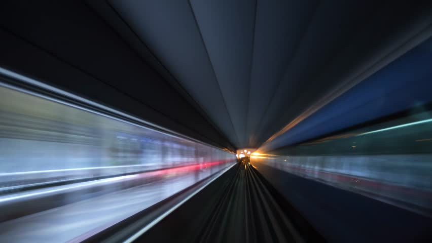 DUBAI, UAE - JANUARY 29 2019: Night time lapse of Dubai metro. Modern and fast mode of transportation in city | Shutterstock HD Video #1024016165