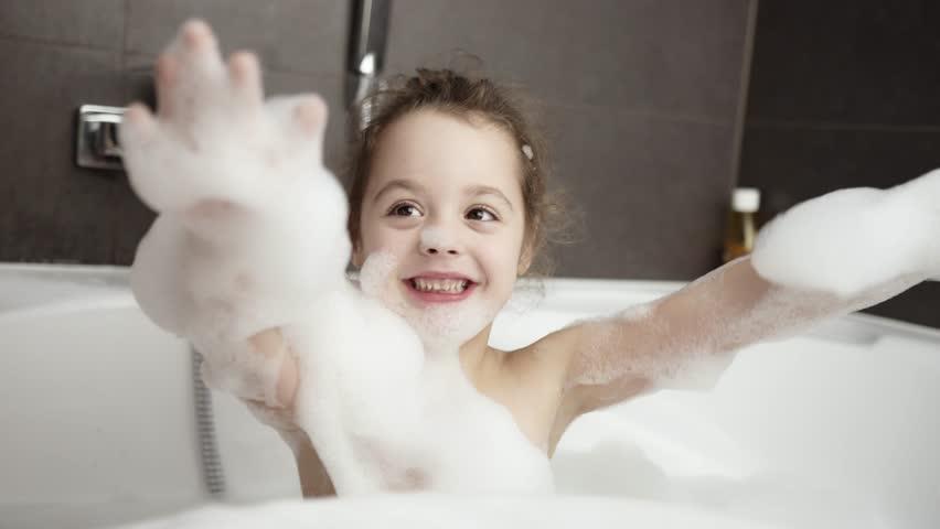 Cute little girl taking bath | Shutterstock HD Video #1024024145