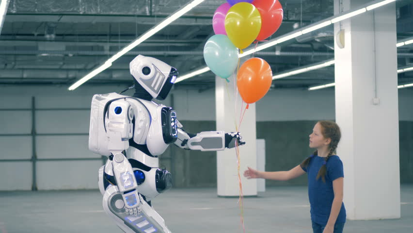 Colourful balloons are being gifted by a cyborg to a girl | Shutterstock HD Video #1024036985
