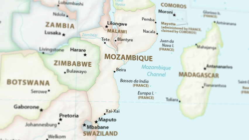 Mozambique on a political map of the world. Video defocuses showing and hiding the map (4K UHD). Royalty-Free Stock Footage #1024049540