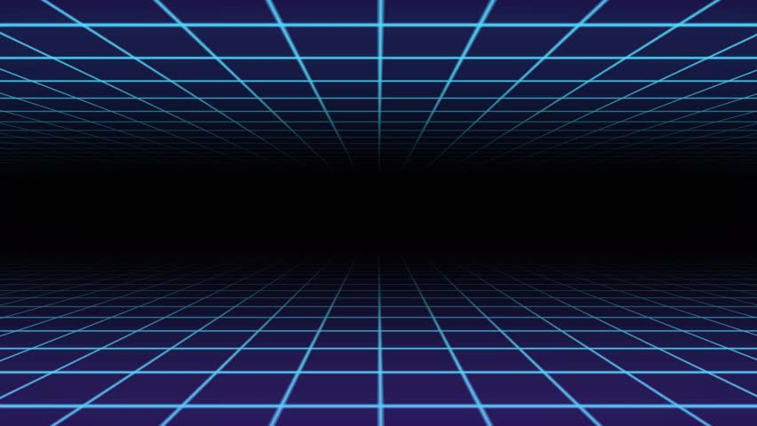 Set of 6 Retro 80s Background Animation Loops Featuring Blue Neon Grids and Lines.