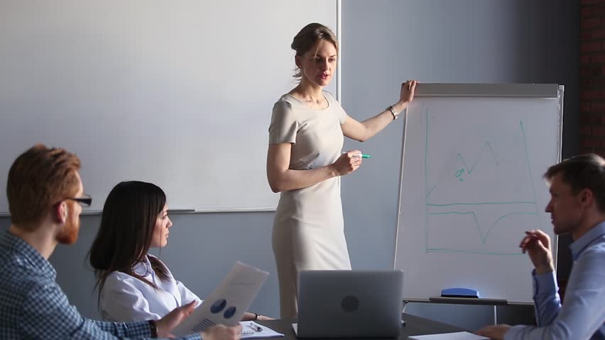 Corporate female business trainer discussing financial graph training employees group talking at team meeting, businesswoman coach mentor teaching workers at seminar giving presentation on whiteboard Royalty-Free Stock Footage #1024093364