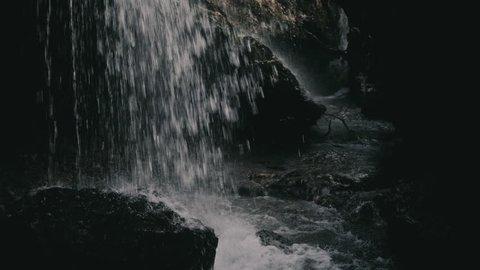 Niagara Waterfall on the river Cijevna on cloudy weather in Podgorica, Montenegro