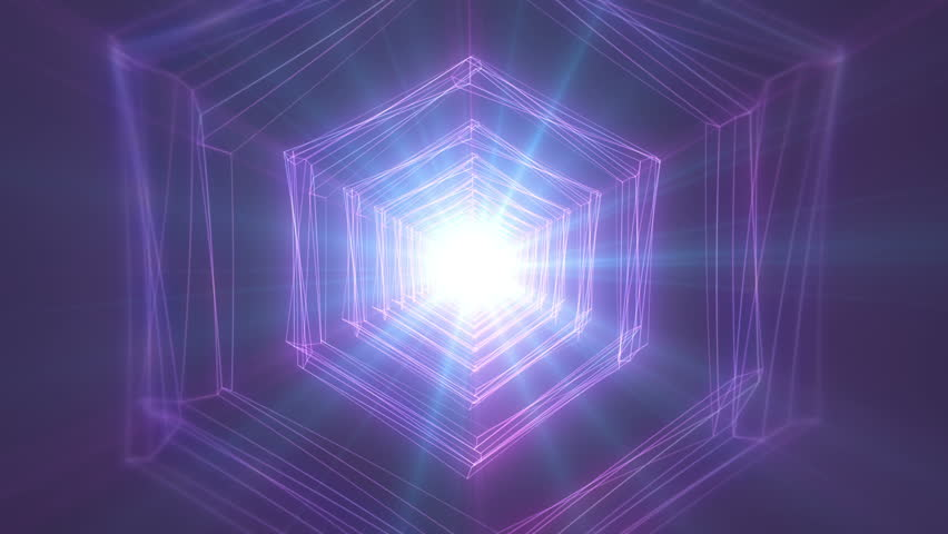 4K Abstract technology neon lines tunnel. pink and violet dots construction. Camera rotates and moves forward towards the white light. Dynamic background for project #1024113710