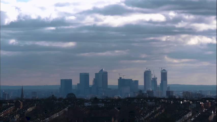 Canary Wharf London skyline  Royalty-Free Stock Footage #1024118948