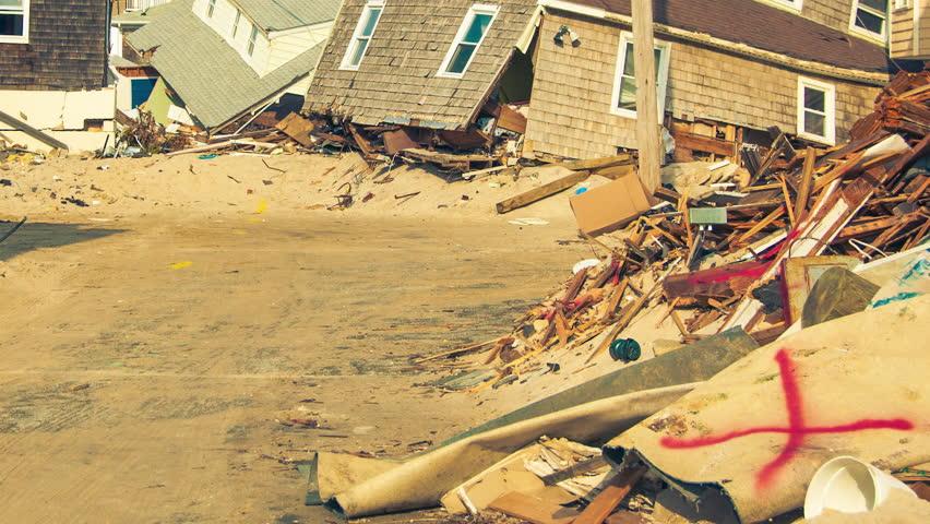 Massive destruction to personal homes after Super storm hurricane Sandy devastated coastal towns.
