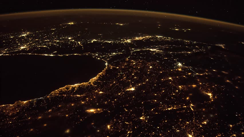 Planet Earth seen from the ISS. Space exploration of planet Earth at night. #1024145993