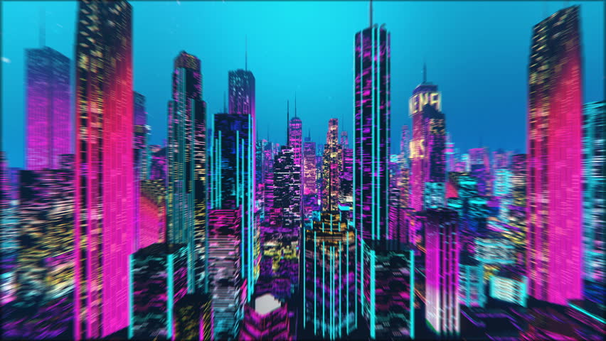 Flying through futuristic city jungle, special lens effect, dream, time travel. Synthwave 3D city, beautiful pink and purple background