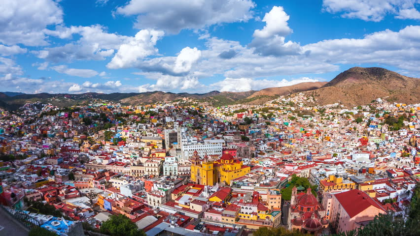 Guanajuato City, Mexico, time lapse view of cityscape including historical landmark Basilica of Our Lady of Guanajuato during daytime. | Shutterstock HD Video #1024190000