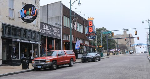 MEMPHIS, TENNESSEE/UNITED STATES- JANUARY 12, 2019: Scene of historic Beale St. in Memphis, Tennessee 4K. Beale Street is a famous area with ties to historic Blues Music buildings and musicians