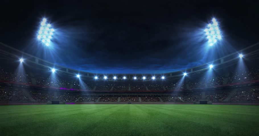 Modern grass playground stadium evening floodlight illumination zoom out , football stadium sport advertisement background, 4K animation with black end | Shutterstock HD Video #1024205177