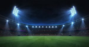 modern grass playground stadium evening floodlight illumination zoom out , football stadium sport advertisement background, 4K animation with black end