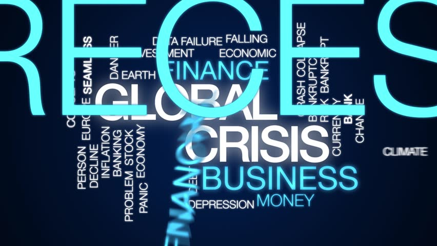 Global crisis animated word cloud. Kinetic typography.