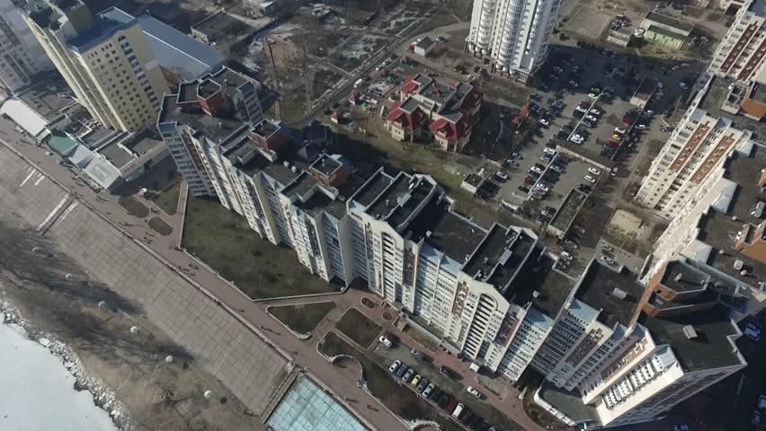 Modern residential area of Kiev at winter time (drone image). February 17, 2019. Kiev,Ukraine #1024241096