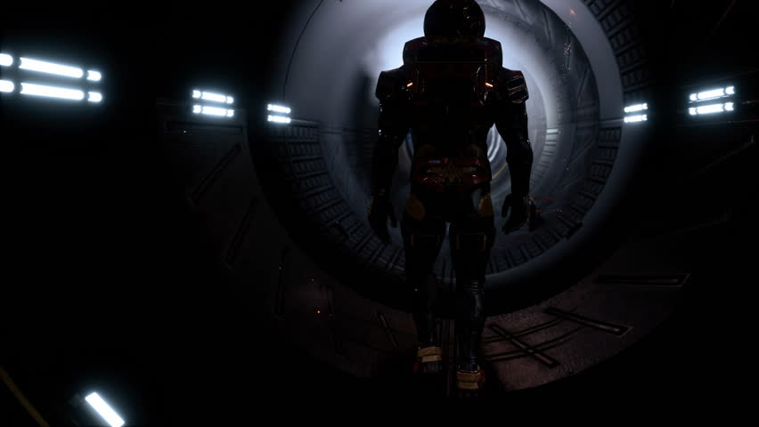 The astronaut passes through a futuristic sci-Fi tunnel with sparks and smoke, the interior view. | Shutterstock HD Video #1024250276