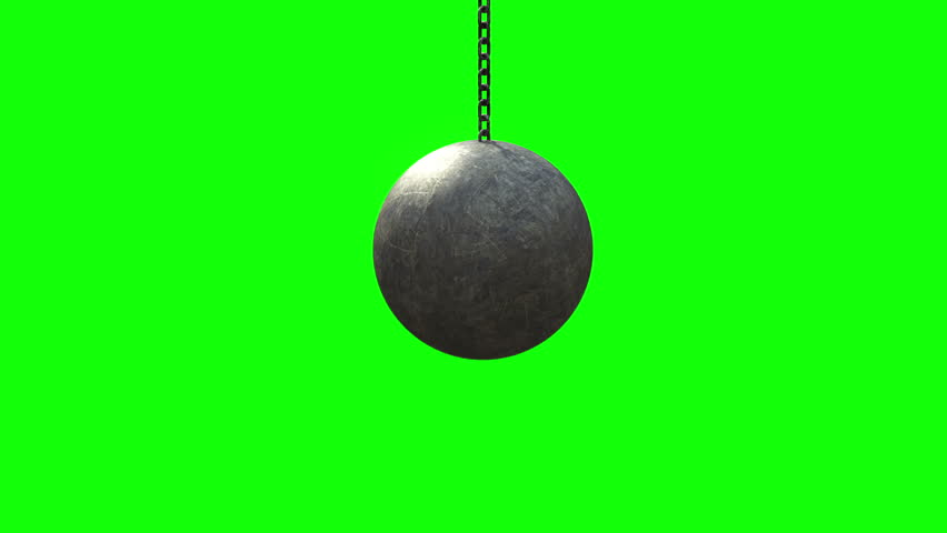 4K. Metallic Wrecking Ball Shattering The Concrete Wall. Front View. Green Screen. 3D Animation.