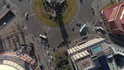 Fast Traffic Aerial View in Barcelona Spain