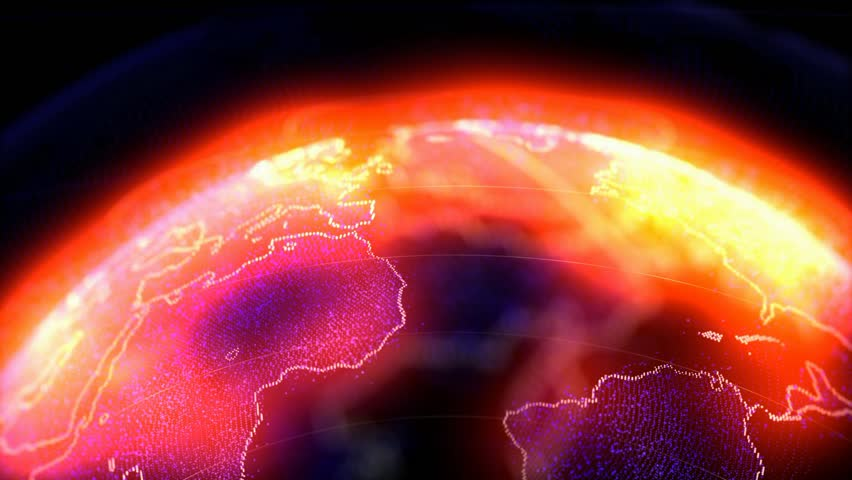 Dark Space Atmosphere Revolving Planet Earth, Space flight planet animation, Glowing red and blue.   Shutterstock HD Video #1024257734