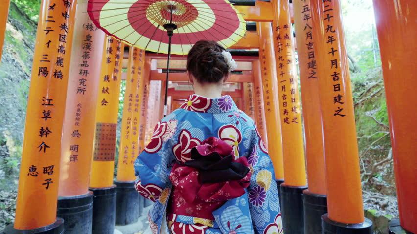 Asian women in traditional japanese kimonos at fushimi inari shrine in Kyoto, Japan. | Shutterstock HD Video #1024264406