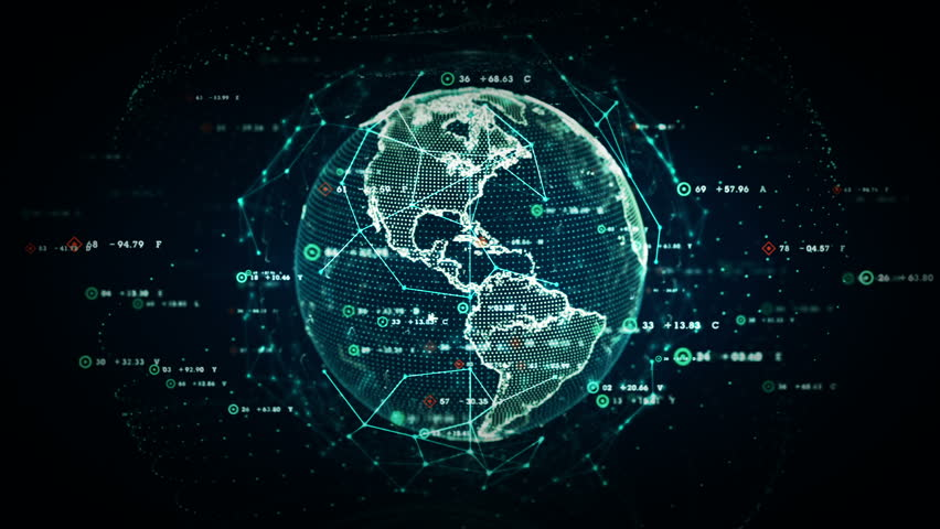 Digital World Data - A stylized rendering of the earth as a digital entity conveying the idea of the modern digital age and global connectivity. Seamless Loop. | Shutterstock HD Video #10242839