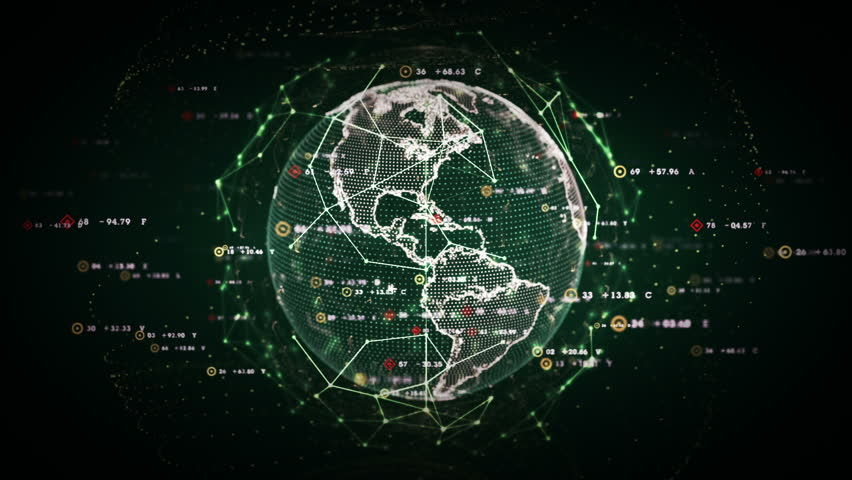 Digital World Data - A stylized rendering of the earth as a digital entity conveying the idea of the modern digital age and global connectivity. Seamless Loop. | Shutterstock HD Video #10242842